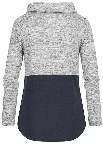 Styleboom Fashion Damen 2-Tone Turtle-Neck Pullover Tunnelzug navy blau grau