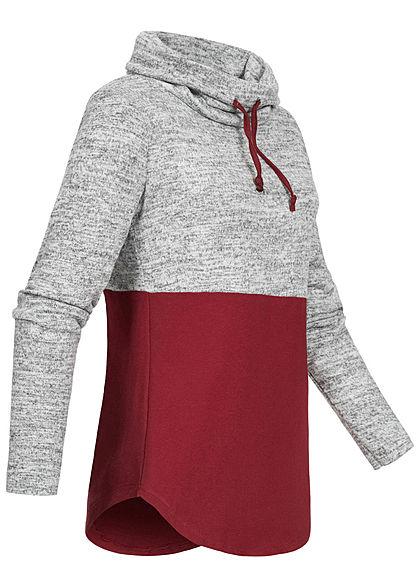 Styleboom Fashion Damen 2-Tone Turtle-Neck Pullover Tunnelzug rot hell grau