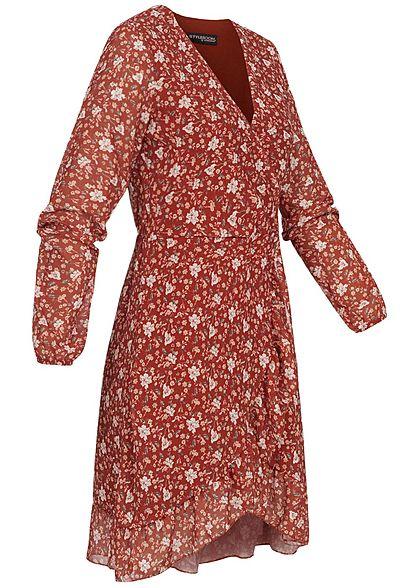 Styleboom Fashion Damen V-Neck Chiffon Kleid Blumen Print Wickel-Optik rot