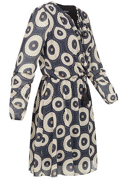 Styleboom Fashion Damen V-Neck Chiffon Kleid Kreise Print navy blau