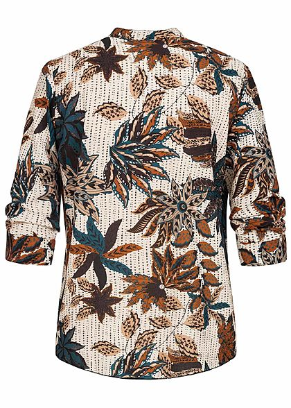 Styleboom Fashion Damen V-Neck Bluse Floraler Print Vokuhila beige braun