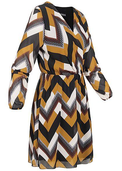 Styleboom Fashion Damen V-Neck Chiffon Kleid Zick Zack Muster schwarz gelb braun