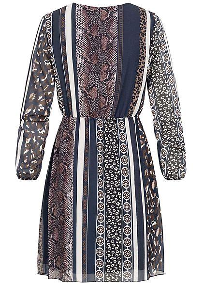 Styleboom Fashion Damen V-Neck Chiffon Kleid Patchwork Animal Print navy blau