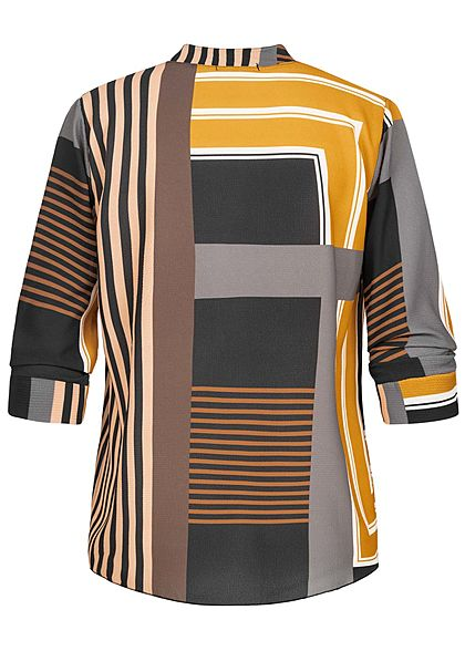 Styleboom Fashion Damen V-Neck Bluse Streifen Print Vokuhila gelb braun