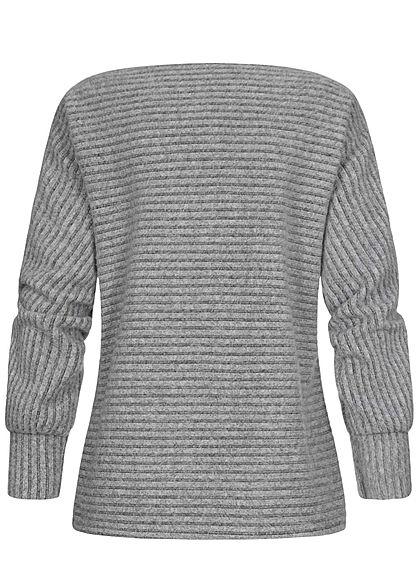 Styleboom Fashion Damen Soft-Touch U-Boot Pullover Streifen Muster hell grau