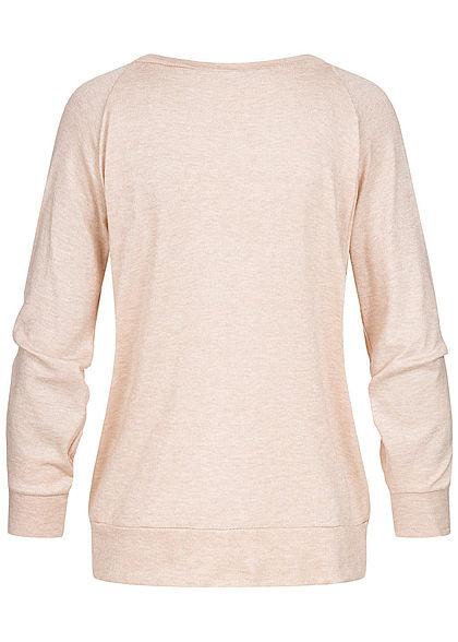 Styleboom Fashion Damen V-Neck Pullover Schnüre vorne rosa beige melange