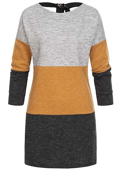 Styleboom Fashion Damen Colorblock Melange Kleid Schleife hinten grau gelb