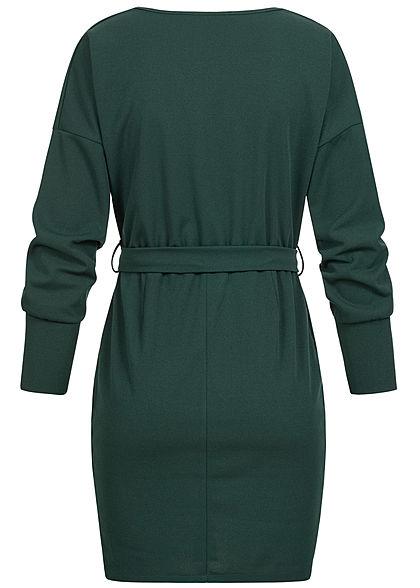 Styleboom Fashion Damen V-Neck Mini Kleid Wickel-Optik Bindegürtel dunkel grün