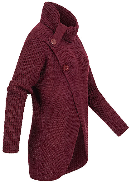 Styleboom Fashion Damen Turtle-Neck Strickpullover Wickel-Optik bordeaux rot