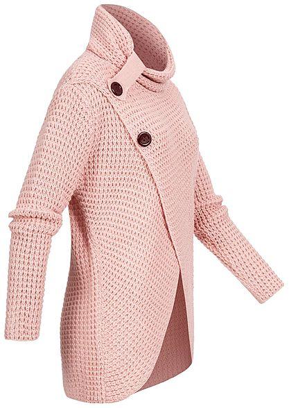 Styleboom Fashion Damen Turtle-Neck Strickpullover Wickel-Optik rosa