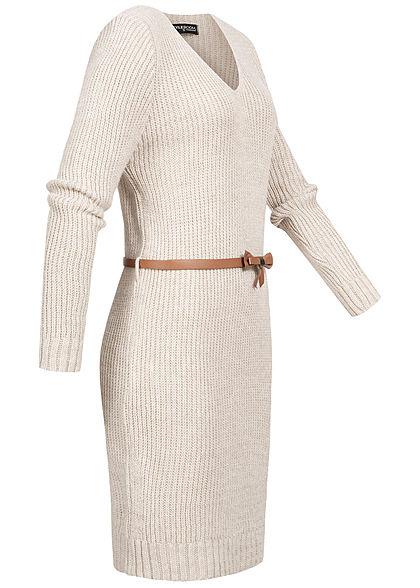 Styleboom Fashion Damen V-Neck Strick Kleid inkl. Gürtel beige