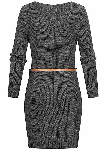 Styleboom Fashion Damen V-Neck Strick Kleid inkl. Gürtel dunkel grau