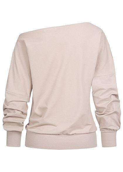 Styleboom Fashion Damen One-Shoulder Fledermausarm Pullover beige
