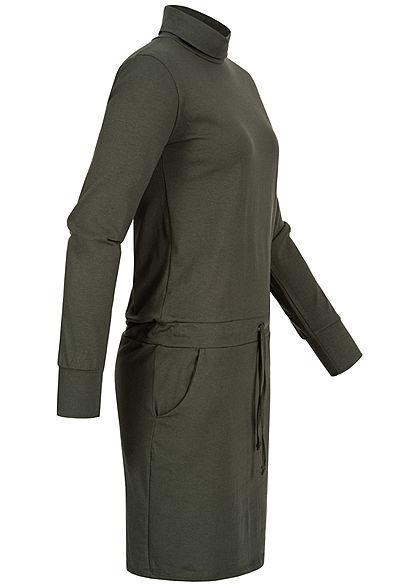 Styleboom Fashion Damen Rollkragen Kleid 2-Pockets Taillenzug oliv grün