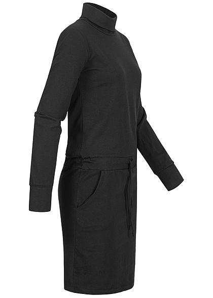 Styleboom Fashion Damen Rollkragen Kleid 2-Pockets Taillenzug schwarz