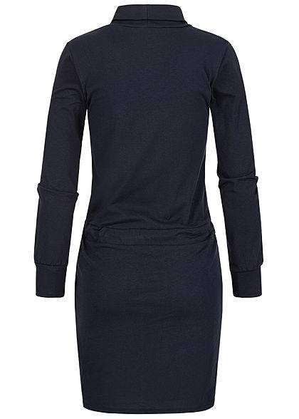 Styleboom Fashion Damen Rollkragen Kleid 2-Pockets Taillenzug navy blau