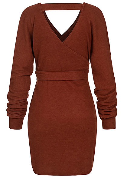 Styleboom Fashion Damen Soft-Toch V-Neck Kleid Wickel-Optik kupfer braun