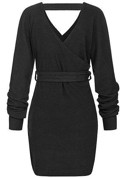 Styleboom Fashion Damen Soft-Toch V-Neck Kleid Wickel-Optik schwarz