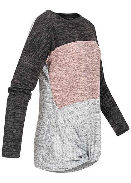 Styleboom Fashion Damen Colorblock Melange Pullover Knoten vorne schwarz rosa grau
