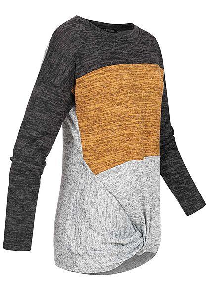 Styleboom Fashion Damen Colorblock Melange Pullover Knoten vorne schwarz gelb grau