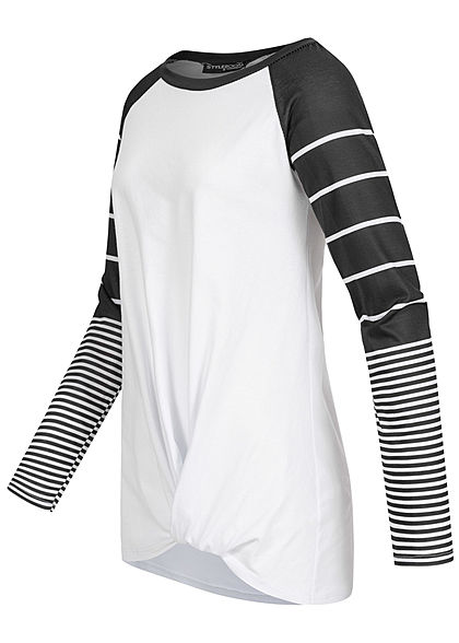 Styleboom Fashion Damen 2-Tone Raglan Longsleeve Streifen Muster weiss schwarz