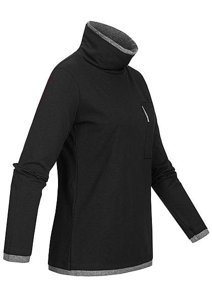Styleboom Fashion Damen Rollkragen Longsleeve 2in1 Optik Brusttasche schwarz grau