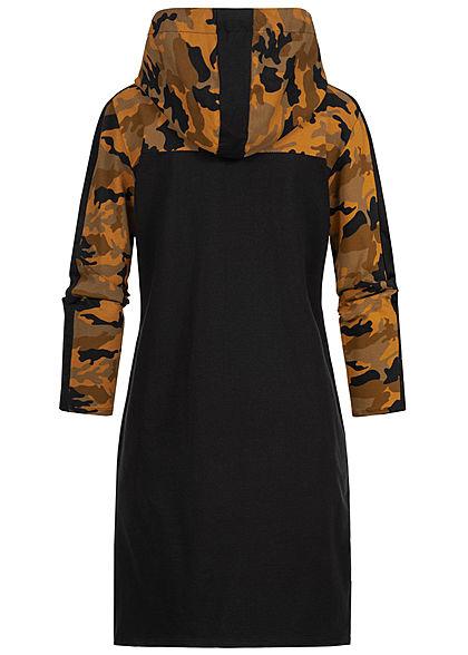 Styleboom Fashion Damen Hoodie Kleid Kapuze Camouflage Print gelb camo schwarz