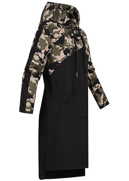 Styleboom Fashion Damen Hoodie Kleid Kapuze Camouflage Print olive grün camo schwarz