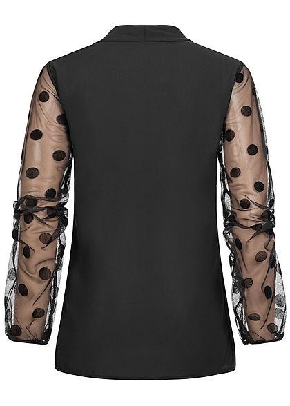 Styleboom Fashion Damen Choker Chiffon Bluse Schleife Mesh-Ärmel Punkte schwarz