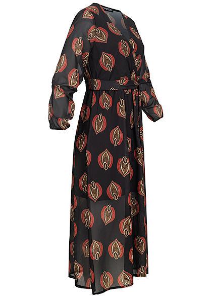 Styleboom Fashion Damen V-Neck Chiffon Midi Kleid inkl Gürtel Blatt Muster schwarz