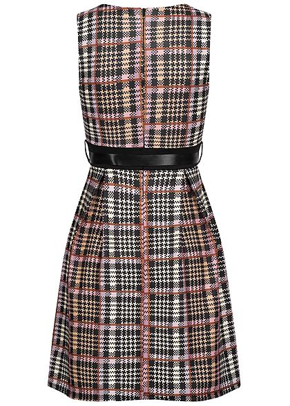 Styleboom Fashion Damen Mini Kleid Hahnentritt Muster inkl. Bindegürtel multicolor