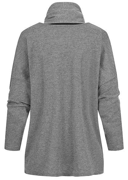 Styleboom Fashion Damen Oversized Soft-Touch Pullover inkl. Schal medium grau