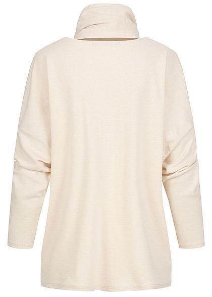 Styleboom Fashion Damen Oversized Soft-Touch Pullover inkl. Schal beige