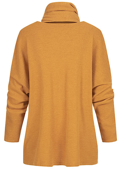 Styleboom Fashion Damen Oversized Soft-Touch Pullover inkl. Schal curry gelb