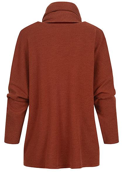 Styleboom Fashion Damen Oversized Soft-Touch Pullover inkl. Schal kupfer braun