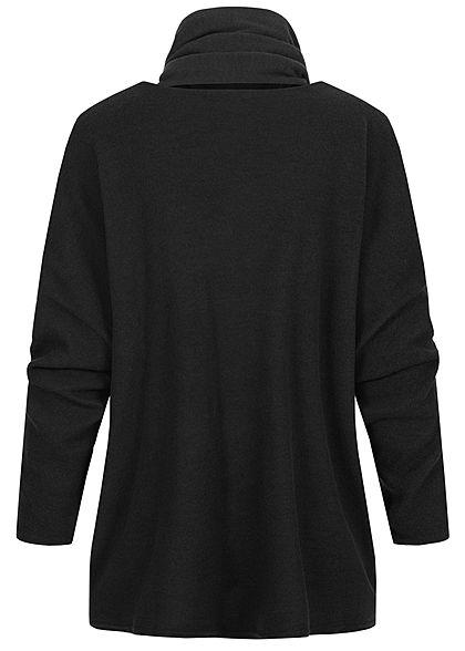 Styleboom Fashion Damen Oversized Soft-Touch Pullover inkl. Schal schwarz