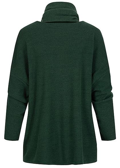 Styleboom Fashion Damen Oversized Soft-Touch Pullover inkl. Schal dunkel grün