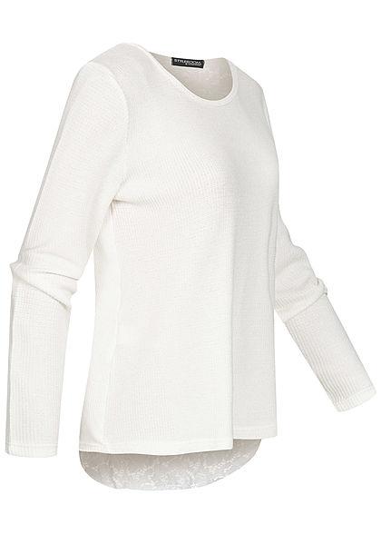 Styleboom Fashion Damen Oversized Pullover Spitze am Rücken off weiss