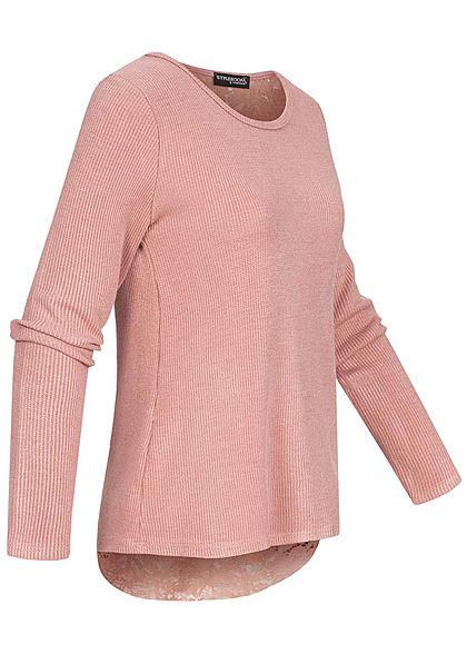 Styleboom Fashion Damen Oversized Pullover Spitze am Rücken rosa