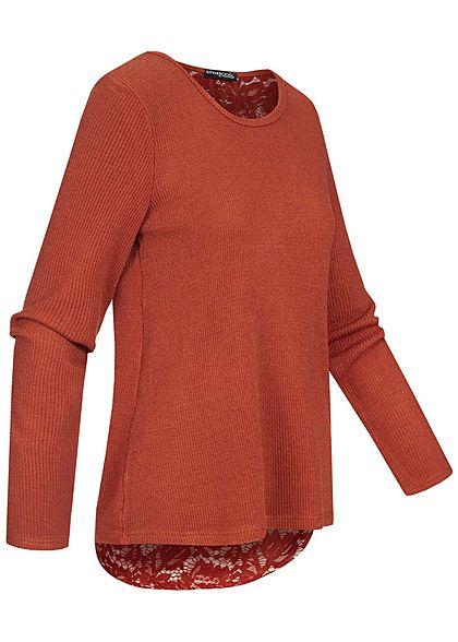Styleboom Fashion Damen Oversized Pullover Spitze am Rücken kupfer braun