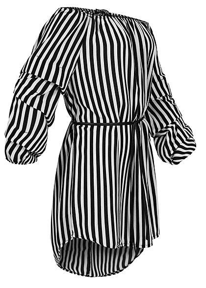 Styleboom Fashion Damen Off-Shoulder Kleid Bindegürtel Streifen Muster weiss schwarz
