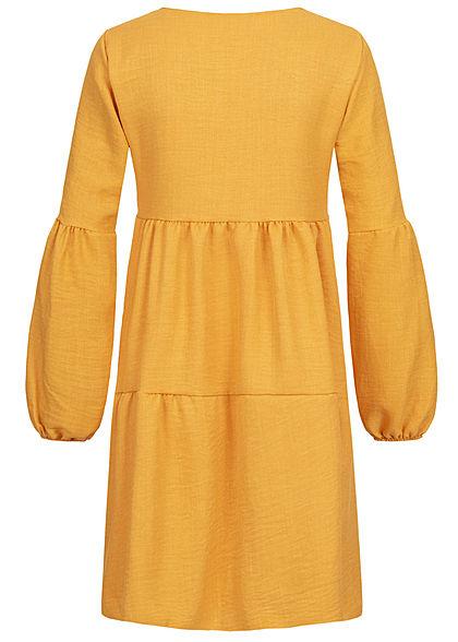 Styleboom Fashion Damen V-Neck Stufenkleid mit Pufferärmel senf gelb