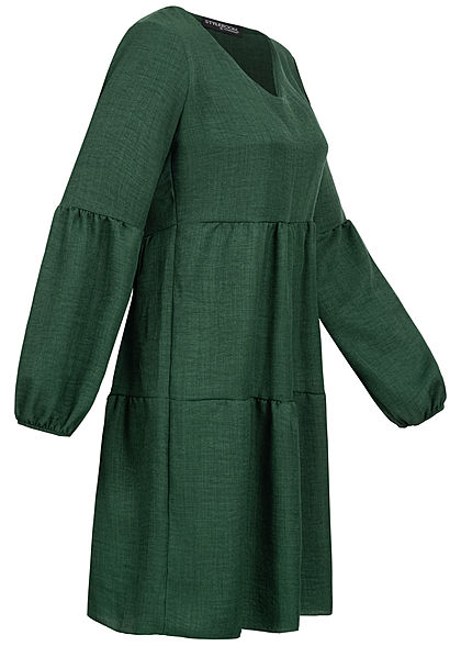 Styleboom Fashion Damen V-Neck Stufenkleid mit Pufferärmel dunkel grün