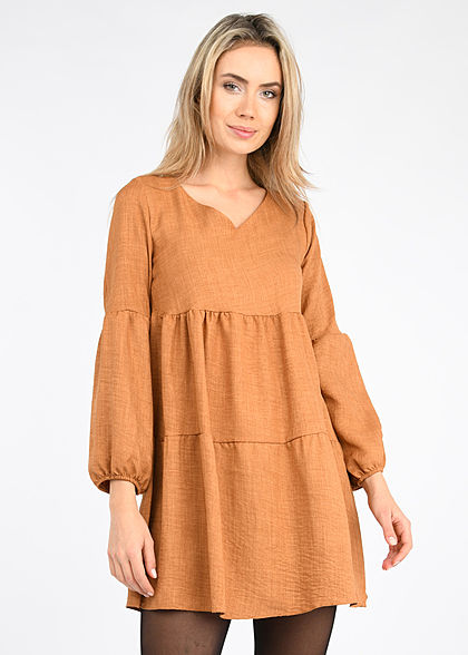 Styleboom Fashion Damen V-Neck Stufenkleid mit Pufferärmel camel braun