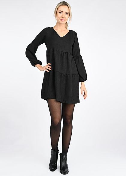 Styleboom Fashion Damen V-Neck Stufenkleid mit Pufferärmel schwarz