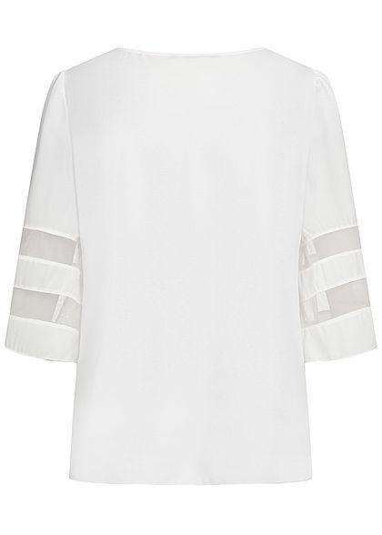 Styleboom Fashion Damen V-Neck Chiffon Bluse Mesh- Detail weiss