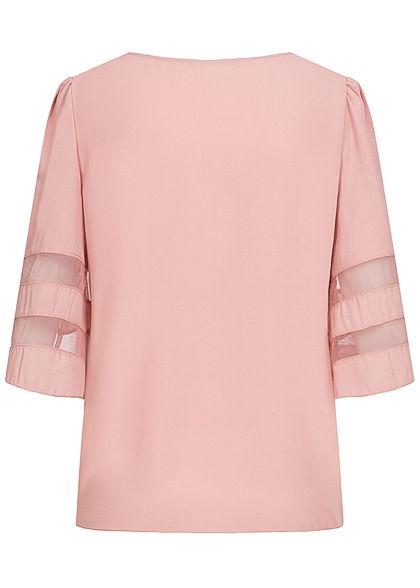 Styleboom Fashion Damen V-Neck Chiffon Bluse Mesh- Detail old rosa