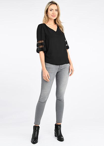 Styleboom Fashion Damen V-Neck Chiffon Bluse Mesh- Detail schwarz