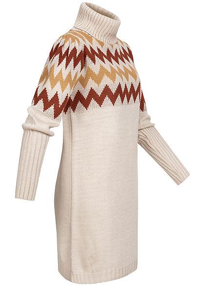 Styleboom Fashion Damen Rollkragen Strick Kleid Zick Zack Muster beige