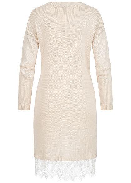 Styleboom Fashion Damen Midi Strick Kleid Spitze am Saum beige weiss